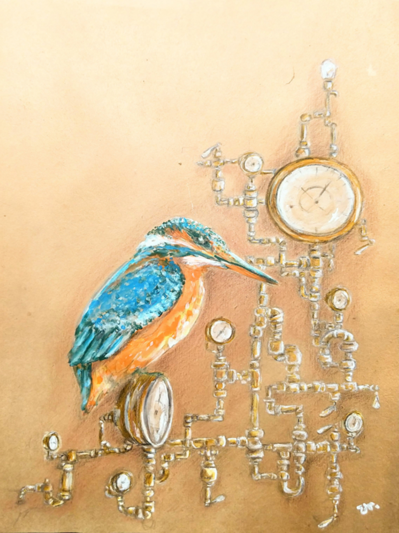 kingfisher and gauges painting by ursula aavasalu tigukass