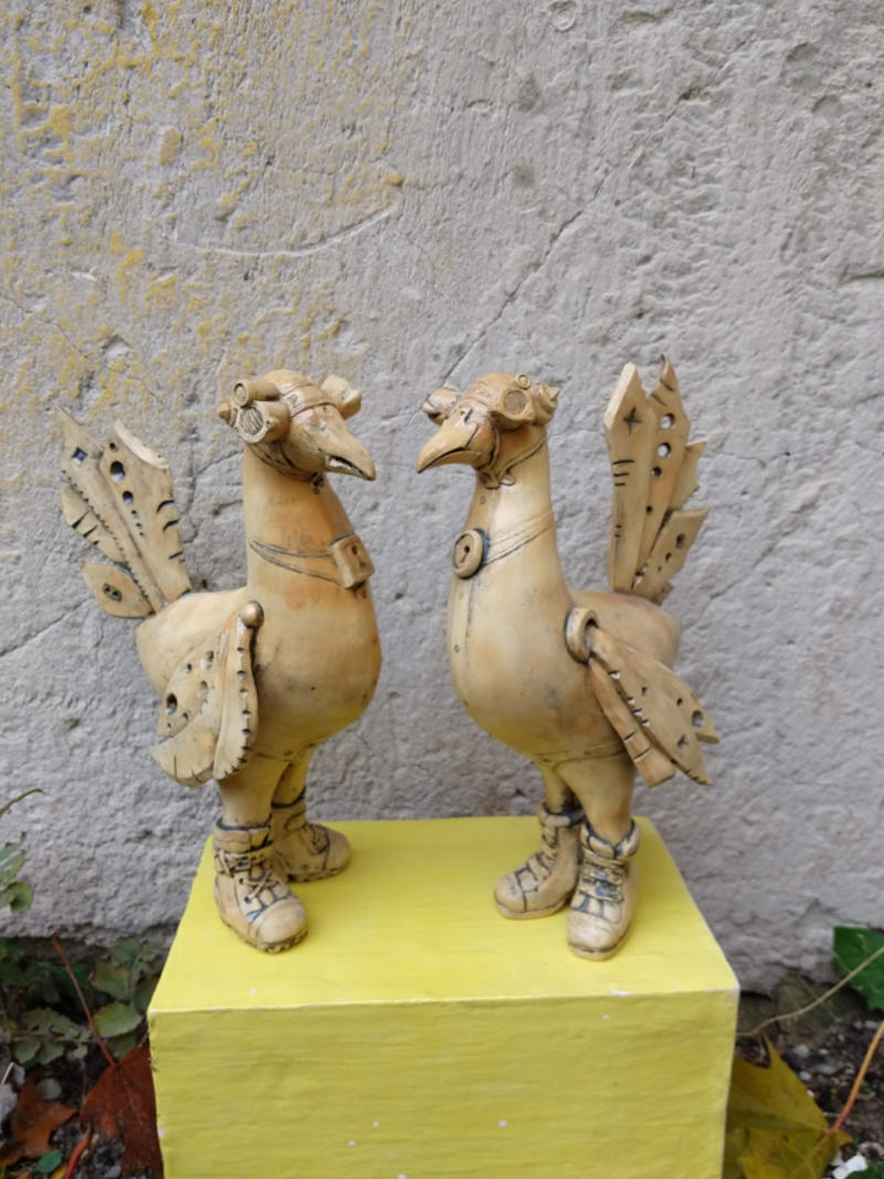 a pair of steampunk birds by ursula aavasalu tigukass