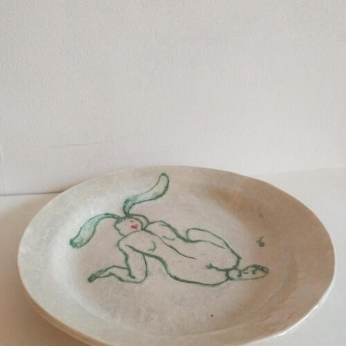 rabbit woman plate by ursula aavasalu tigukass