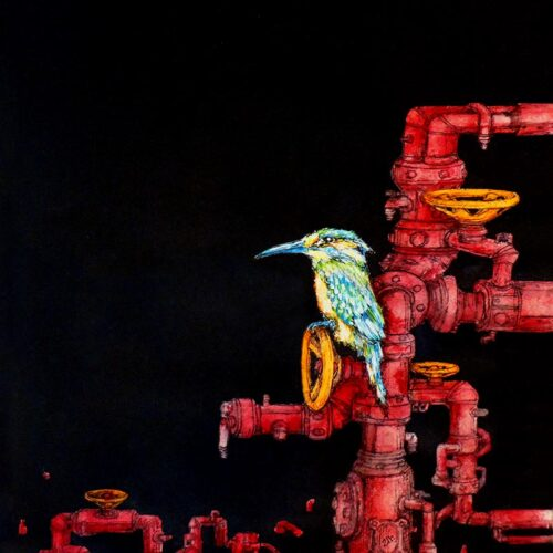 kingfisher with pipes by ursula aavasalu tigukass