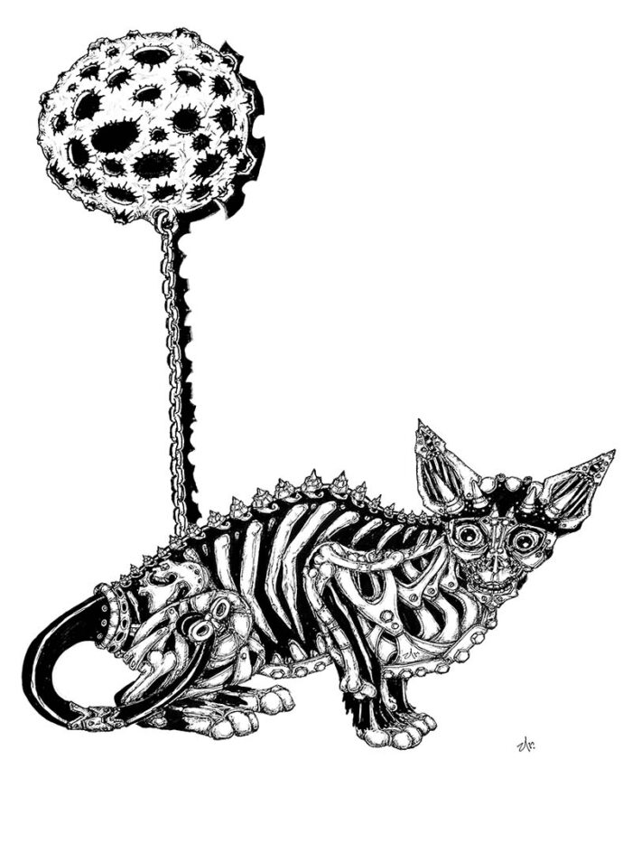 skeleton cat with the moon by ursula aavasalu tigukass