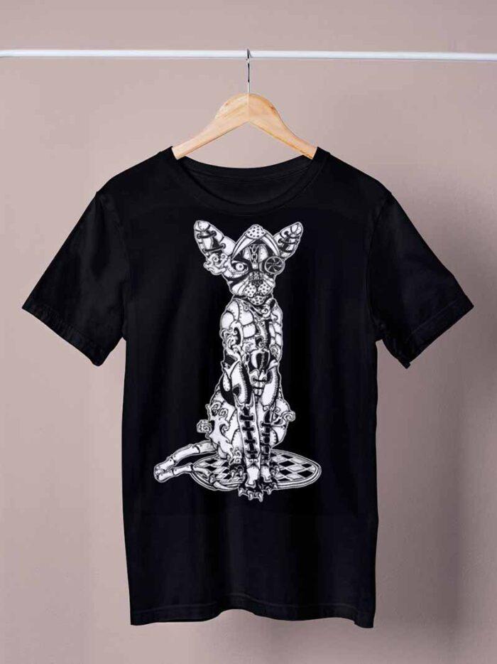 black armoured cat shirt by ursula aavasalu tigukass