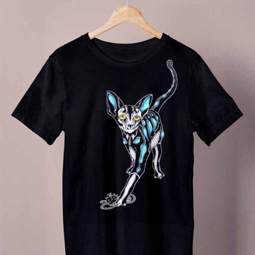 black cyberpunk cat shirt by ursula aavasalu tigukass
