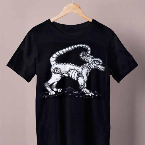 black celtic steampunk doggo shirt by ursula aavasalu tigukass