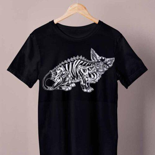 black skeleton cat shirt by ursula aavasalu tigukass