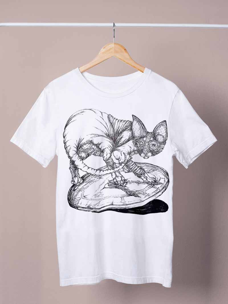 cat with a clock white shirt by ursula aavasalu tigukass