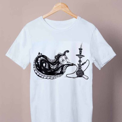 white caterpillar with a pipe shirt by ursula aavasalu tigukass