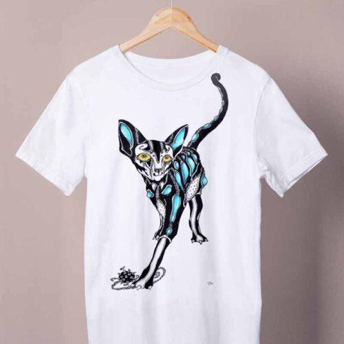 cyberpunk cat white shirt by ursula aavasalu tigukass