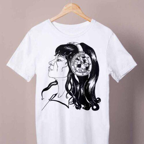 white negative sound shirt by ursula aavasalu tigukass