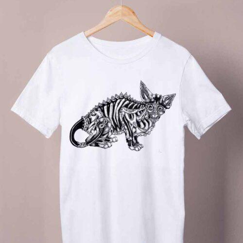 white skeleton cat shirt by ursula aavasalu tigukass