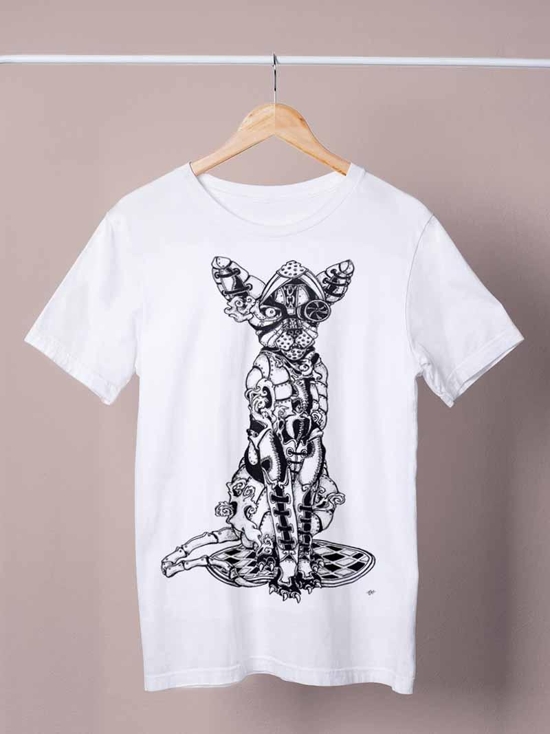 steampunk alley cat white shirt by ursula aavasalu tigukass