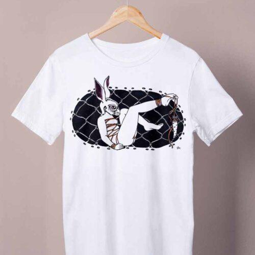 white toehanging carrot shirt by ursula aavasalu tigukass
