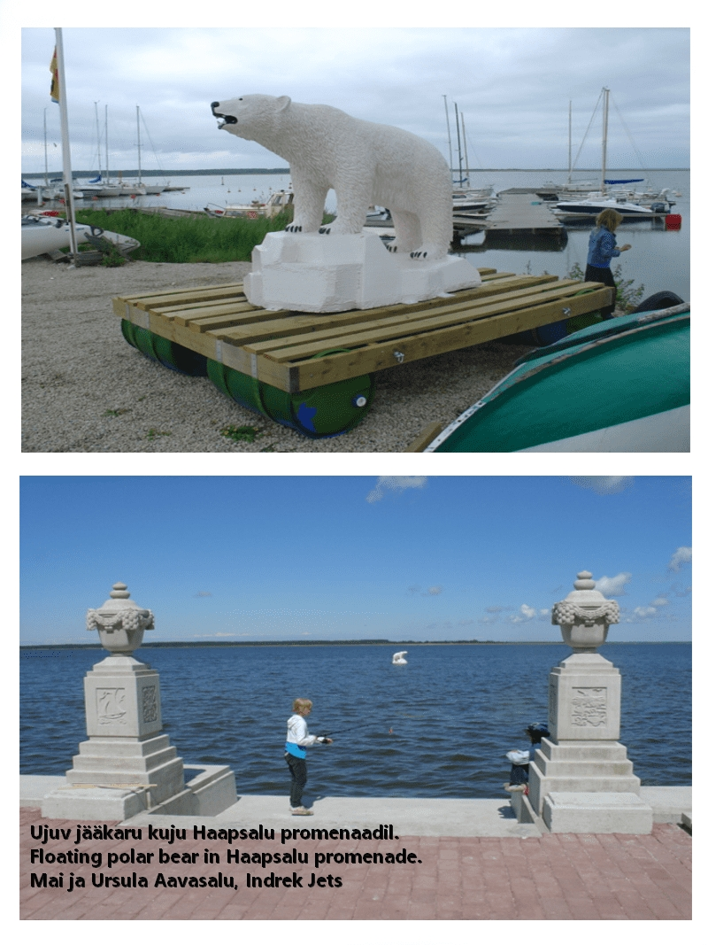 floating polar bear statue in haapsalu tigukass n
