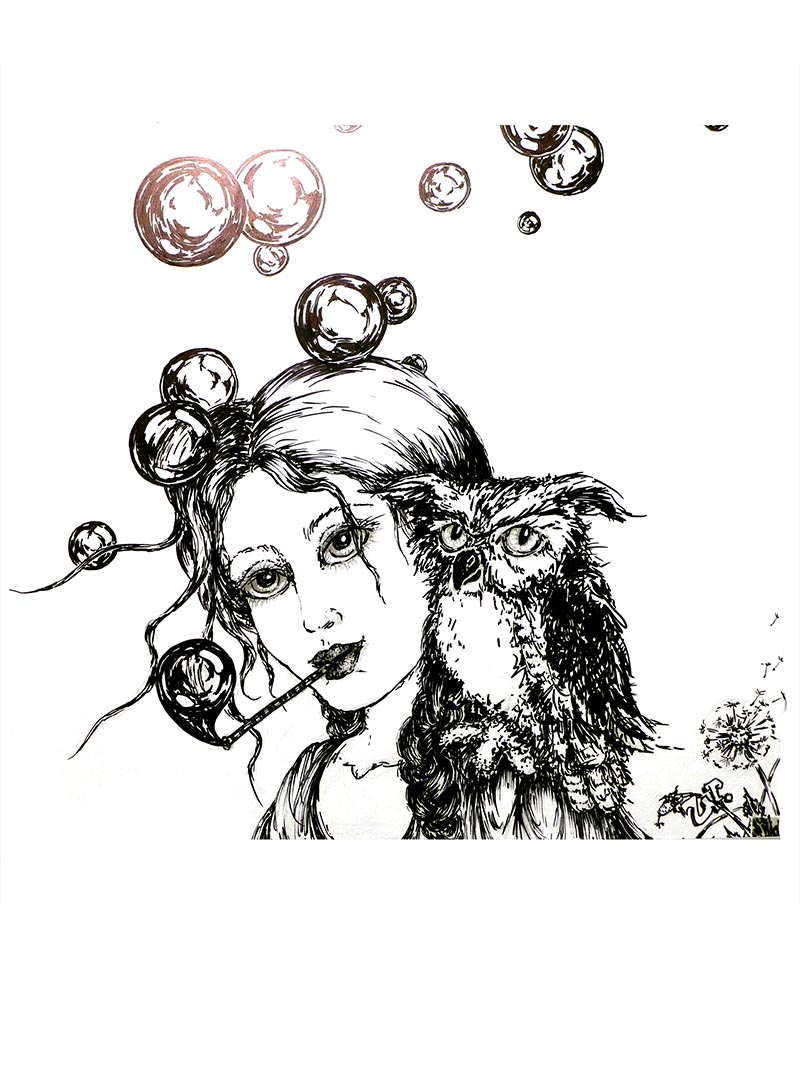 girl and an owl by ursula aavasalu tigukass